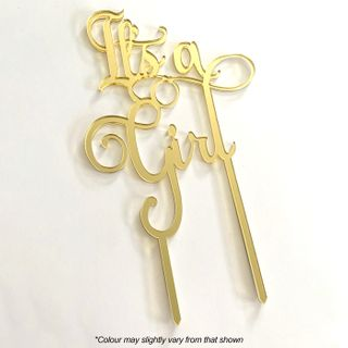 IT'S A GIRL GOLD MIRROR ACRYLIC CAKE TOPPER