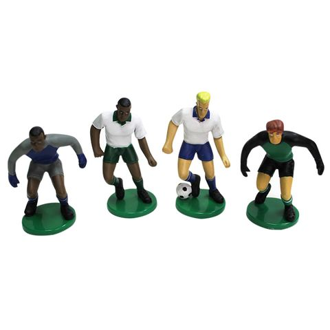 SOCCER PLAYERS FIGURINE CAKE TOPPERS (SET OF 4)