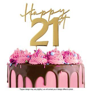 CAKE CRAFT | METAL TOPPER | HAPPY 21ST | GOLD | 12CM
