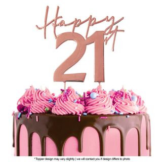 CAKE CRAFT | METAL TOPPER | HAPPY 21ST | ROSE GOLD | 12CM