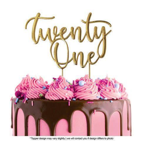 CAKE CRAFT | METAL TOPPER | TWENTY ONE | GOLD | 10CM