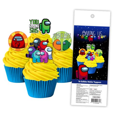 AMONG US   EDIBLE WAFER CUPCAKE TOPPERS   16 PIECE PACK
