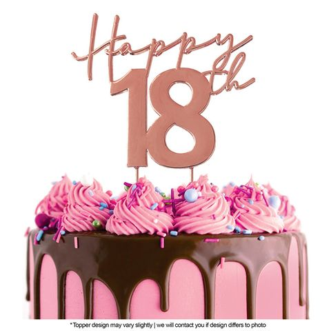 CAKE CRAFT   METAL TOPPER   HAPPY 18TH   ROSE GOLD   12CM