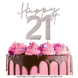 CAKE CRAFT | METAL TOPPER | HAPPY 21ST | SILVER | 12CM