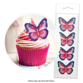 CAKE CRAFT | PINK & PURPLE BUTTERFLY | WAFER TOPPERS | PACKET OF 16