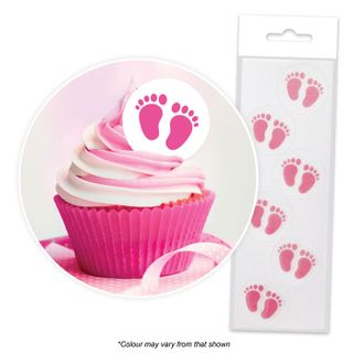 CAKE CRAFT | PINK BABY FEET | WAFER TOPPERS | PACKET OF 24