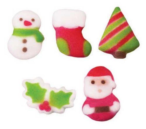 CHRISTMAS CUTIES ASSORTED DEC ON (480) - SNOWMAN, STOCKING, TREE, HOLLY, SANTA SUGAR DECORATIONS