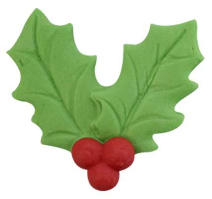 GUMPASTE HOLLY LEAF ICING (80) - SUGAR DECORATIONS