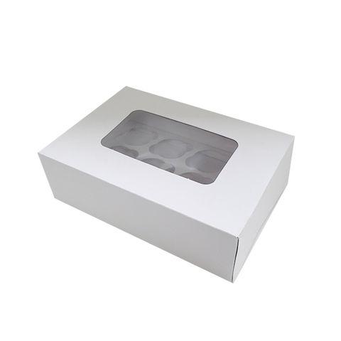 DISPLAY CUPCAKE BOX | 12 HOLES | STANDARD | 3 INCH HIGH | WHITE | UNCOATED CARDBOARD
