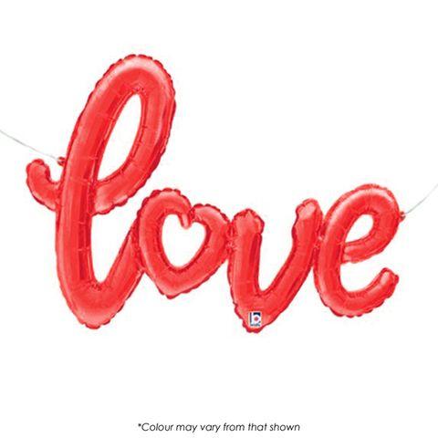 BALLOON   FOIL SHAPE SCRIPT   LOVE   RED   47 INCH
