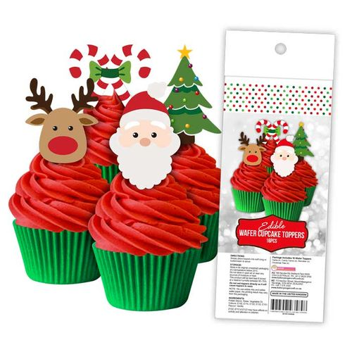CHRISTMAS | EDIBLE WAFER CUPCAKE TOPPERS | 16 PIECE PACK