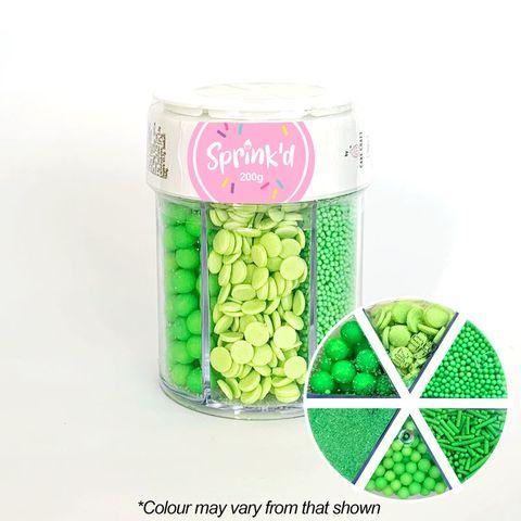 SPRINK'D | 6 CAVITY JAR | SUGAR BALLS/JIMMIES/SEQUINS/SANDING SUGAR | GREEN | 200G