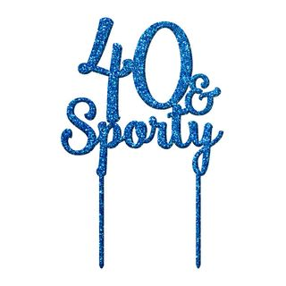 40 & SPORTY BLUE GLITTER ACRYLIC CAKE TOPPER