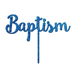 BAPTISM BLUE GLITTER ACRYLIC CAKE TOPPER