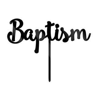 BAPTISM BLACK ACRYLIC CAKE TOPPER