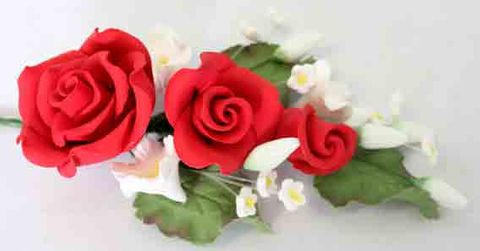 ROSE SPRAY RED (4) - SUGAR FLOWERS