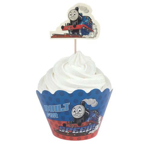 THOMAS THE TANK ENGINE - WRAP & TOPPER SET - 12 CUPCAKES