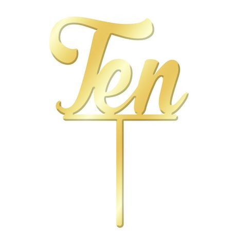 NUMBER TEN GOLD MIRROR ACRYLIC CAKE TOPPER