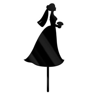 BRIDE IN WEDDING DRESS SILHOUETTE ACRYLIC CAKE TOPPER