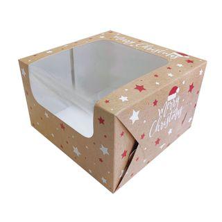 8X8X5 INCH MERRY CHRISTMAS CAKE BOX   SIDE/TOP WINDOW   PE COATED MILK CARTON