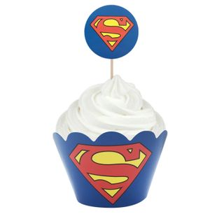 SUPERMAN - WRAP & TOPPER SET - 12 CUPCAKES
