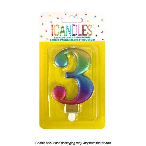 NUMBER 3 | METALLIC RAINBOW | CANDLE