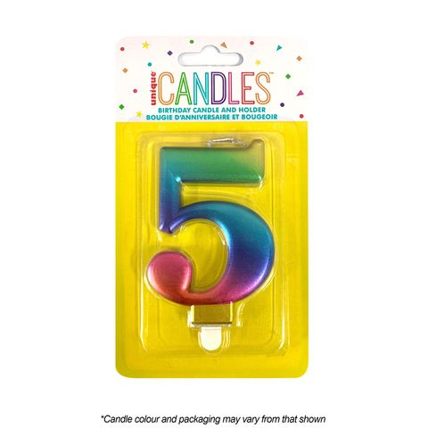 NUMBER 5 | METALLIC RAINBOW | CANDLE