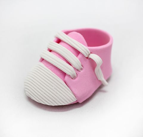 BABY SHOES SPORTY   PINK   PAIR   SUGAR DECORATIONS