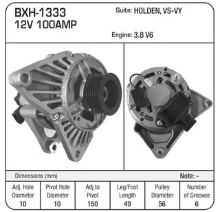 12V 85A ALTERNATOR HOLDEN 3.8