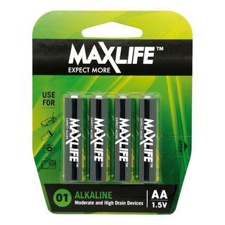 MAXLIFE AA ALKALINE 4 PACK BATTERIES
