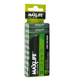 MAXLIFE AAA ALKALINE 20 PACK BATTERIES
