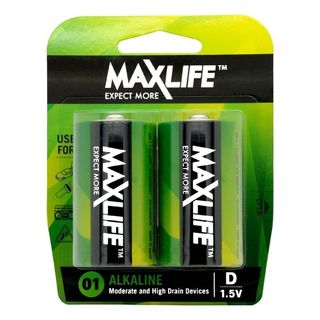 MAXLIFE D ALKALINE 2 PACK BATTERIES