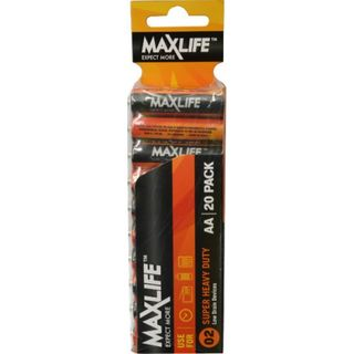 MAXLIFE AA SUPER H/DUTY 20 PACK BATTERIES