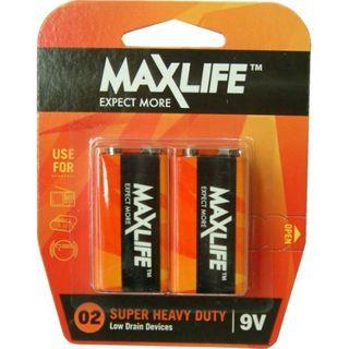 MAXLIFE 9V SUPER H/DUTY 2 PACK BATTERIES