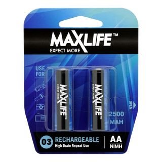 MAXLIFE AA RECHARGEABLE NIMH 2500MAH 2 PACK BATTERIES