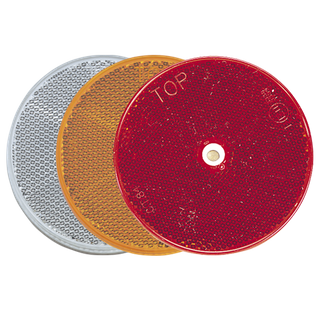 NARVA RED RETRO REFLECTOR 80MM DIAMETER WITH CENTRAL FIXING HOLE