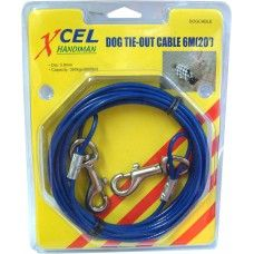 DOG TIE - OUT CABLE 6M WITH SNAPHOOKS 360KG CAP .XC