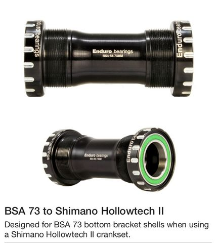 BSA 73 Shell to Shimano 24mm Spindlle - XD-15 - Black