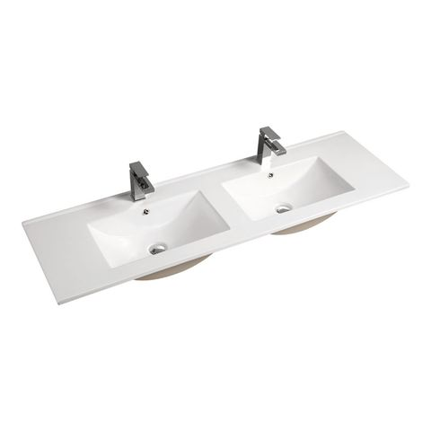 1500 Ceramic Basin Top Double Bowl