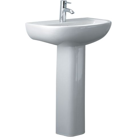 Compact Pedestal Basin 550 - 1 tap hole