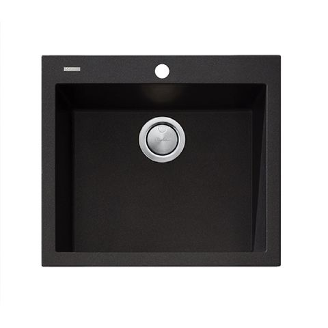 Santorini Black Large Bowl Topmount Sink