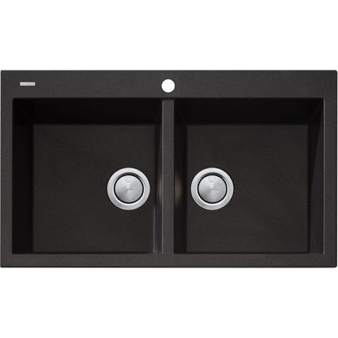 Santorini Black Double Bowl Top Sink