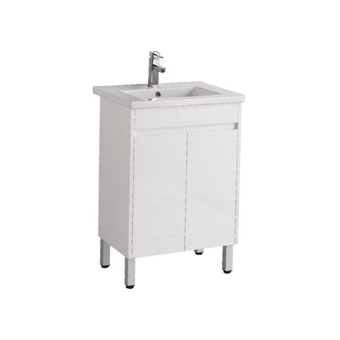 600 PVC 370 Vanity w/Ceramic Top on Legs