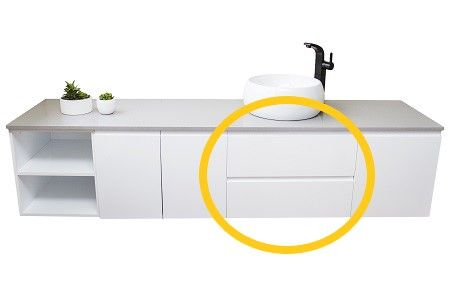 Laurel Wall Hung Double Drawer 400 White