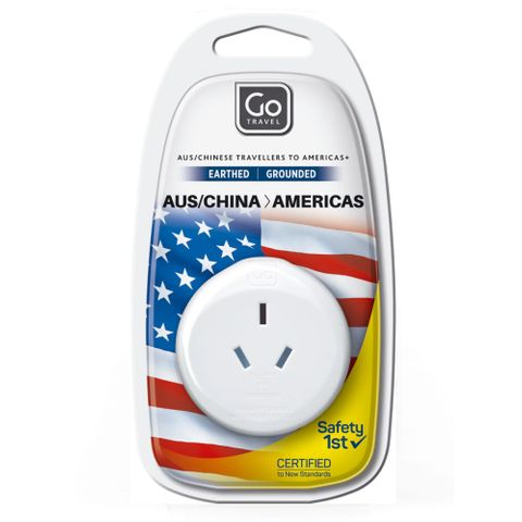 Go Travel Adaptor - Aus Usa Earthed