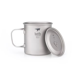 Keith Single Wall Titanium Mug With Handle / Lid 600ml