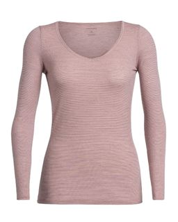 Icebreaker Women's Siren Long Sleeve Sweetheart Wood Rose
