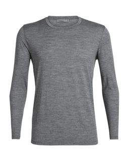 Icebreaker Men's Tech Lite Long Sleeve Crewe Gritstone Heather