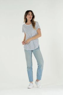 Cle W Charlotte Tee White Ind Stripe