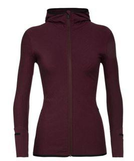 Icebreaker Women's Merino Descender Long Sleeve Zip Jacket Redwood